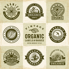 Vintage Organic Labels And Badges Set. Editable EPS10 vector illustration in retro woodcut style with clipping mask and transparency.