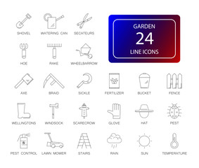 Line icons set. Garden pack. Vector illustration