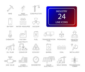 Line icons set. Industry pack. Vector Illustration