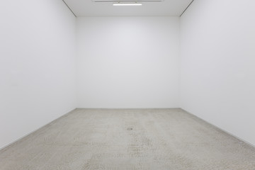 A view of a white painted interior of an empty room or an art gallery with a fluorescent lighting and concrete floors Wall mural
