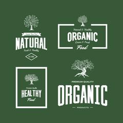 Organic natural and healthy farm fresh food retro emblem set.