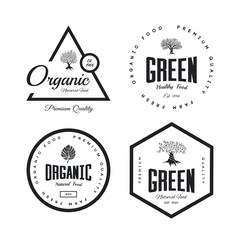 Organic natural and healthy farm fresh food retro emblem set.