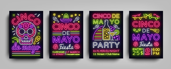 Cinco de Mayo Collection posters in neon style. Set Design Templates Flyers invitation for Sinco de Mayo Celebration, Brochure Neon, Light Banner, Typography Mexican Fiesta Party. Vector illustration Wall mural