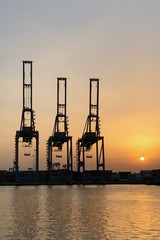 Sunset at Ain Sokhna Port at Suez Gulf in Egypt
