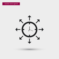 Clock icon. Simple time management element illustration. Office symbol design from business collection. Can be used in web and mobile.