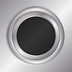 Silver metal background. Round frame. Vector illustration