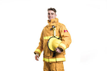 Picture from a young firefighter on studio white wall