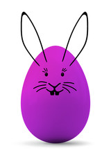 a purple easter egg with a rabbit face