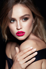 Makeup Beauty Woman. Portrait Of Female With Beautiful Face.