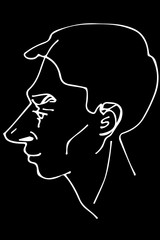 vector sketch of a beautiful man profile.