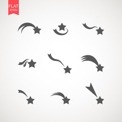 Falling stars vector set . Shooting stars isolated from background. Icon of meteorite or comet with tail