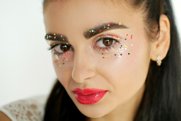 young attractive woman with beautiful art abstract make-up