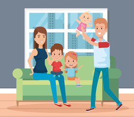 cute family happy in the living room characters vector illustration design