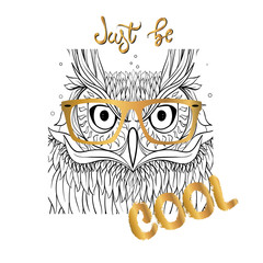 Hipster owl character portrait. Jost be Cool lettering.