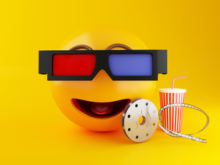 3d Emoji with eyeglasses and drink. Cinema