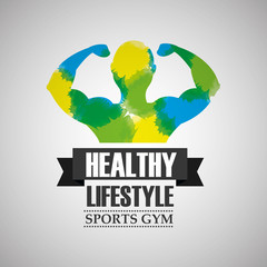 bodybuilder strong man in watercolour color healthy lifestyle sport gym vector illustration