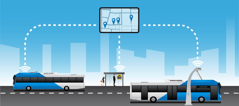 Monitoring of public transport. Management of passenger transportations. Vector illustration