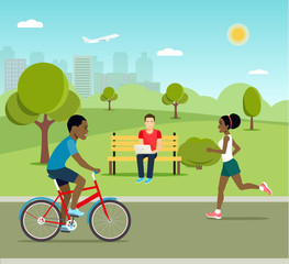 Man riding a bicycle Young man sitting on the bench and working with laptop and Running girl in the park. Vector flat style illustration.
