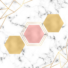 Modern minimalistic geometric design. Foil hexagons, gold triangles lines and white marble texture. Template for designs banner, card, flyer, invitation, party, birthday, wedding, placard, magazine