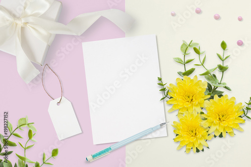 Letter Envelope And A Present On Pink Gray Background Wedding