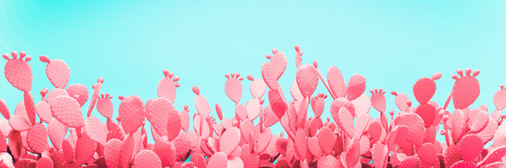 Unusual Pink Cactus Field On Turquoise Background