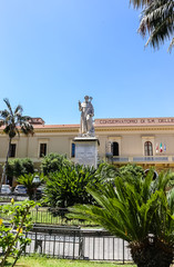 Piazza San Antonio. Monument and Statue of A S. Antonino Abbate.  Conservatory of Santa Maria delle Grazie. Sorrento.  Italy