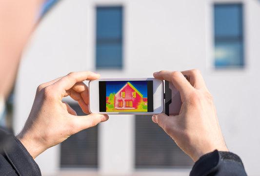 Haus im Wärmebild, Fassadendämmung