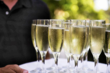 Champaign Glasses on Server's Tray
