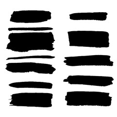 Vector set of different grunge brush strokes.