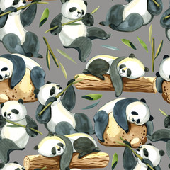 Watercolor seamless pattern of different panda and leaves