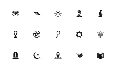 Set of 15 editable dyne icons. Includes symbols such as mullah, blessing, beads and more. Can be used for web, mobile, UI and infographic design.