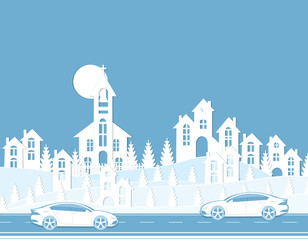 Graphic illustration of a cityscape. Houses, cars, road. Cut from paper.
