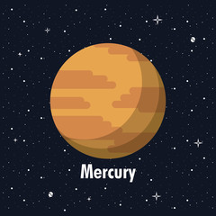 Mercury in the space vector illustration graphic design