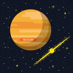 Jupiter over he galaxy vector illustration graphic design