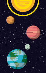 Milky way planets cartoons vector illustration graphic design