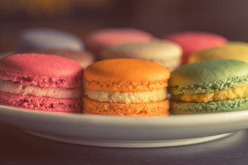 Colorful multicolor sweet delicious macaroons