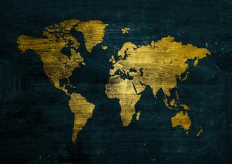 Dark golden grunge world map