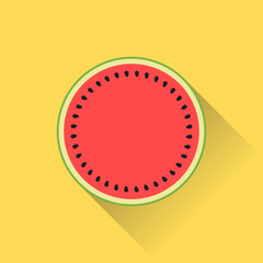 Watermelon icon in top view flat design with colorful colors and shadow. Summer fruit illustration.