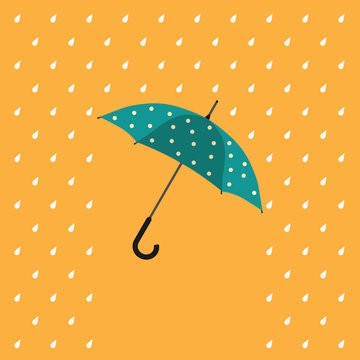 Colorful umbrella in the rain protecting from the water. Colorful rainy weather illustration for april showers and autumn.