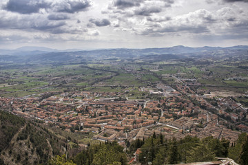 panoramic view from above of the city of Gubbio in Italy