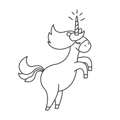 Fotobehang Cartoon draw Illustration with cute unicorn for coloring book.