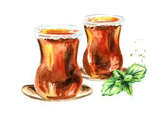 Turkish tea in traditional glass with mint leaves. Watercolor hand drawn illustration, isolated on white background