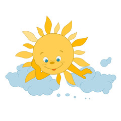 cute sun and cloud. vector illustration. Card for kids.