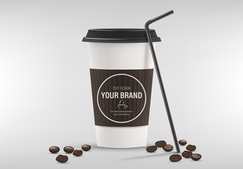 Coffee Cup Mockup with Espresso Bean Illustrations