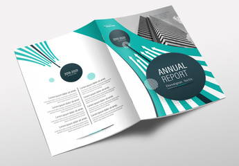 Annual Report Cover Layout with Teal Accents