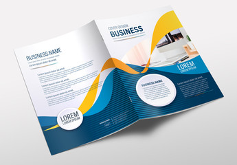 Brochure Cover Layout with Orange and Blue Ribbon Elements