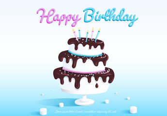 Birthday Banner Layout with Cake and Candles Illustration