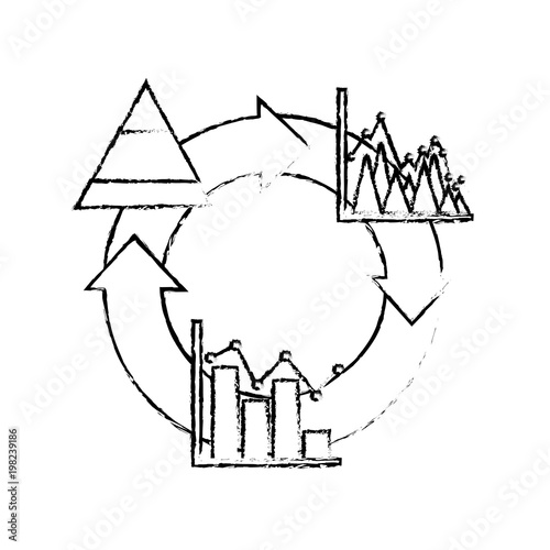 Cycle Arrow Diagram Bar Graph Business Theme Vector Illustration
