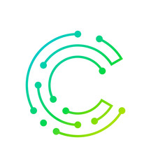 Letter C electronic digital logo icon design template isolated on white background. Vector logotype illustration in tender blue green and yellow colors