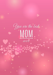 Happy Mother's Day pink greeting card with hearts and sparkles on beautiful light backdrop. Vector holiday love template illustration. Spring background